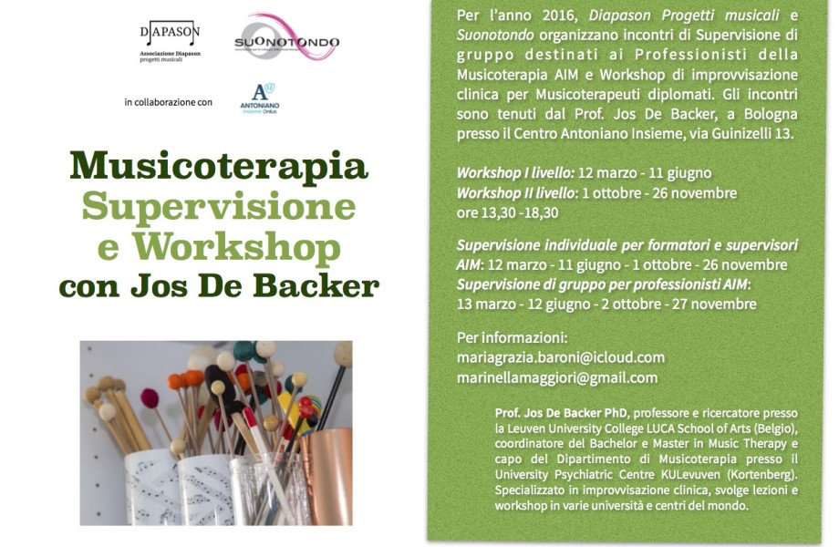 Supervisione e Workshop di Musicoterapia con Jos De Backer